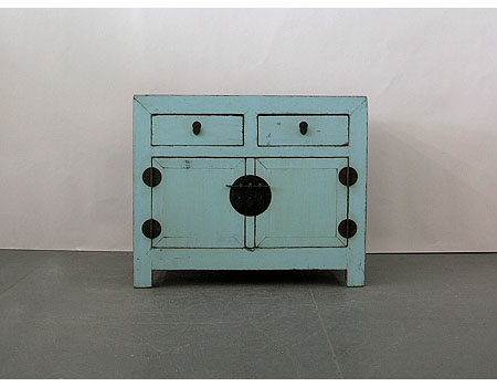 A Chinese pale blue (opalescent) lacquered square-corner chest