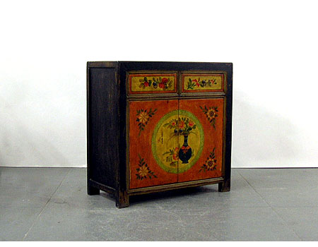 A unique Chinese country-style small painted side cabinet