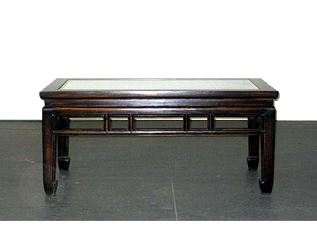 A rectangular waisted low table / coffee table with latticework top