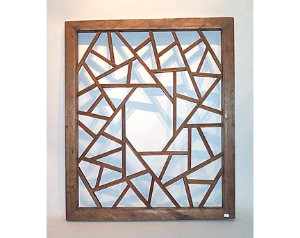 A Wooden Window Panel with a Unique Latticework of Ice-Crack Pattern